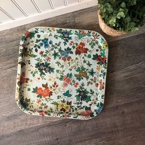 Daher White Floral Metal Tray